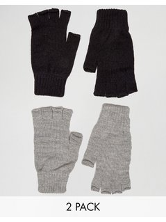 ASOS 2 Pack Fingerless Gloves in Black and Grey SAVE - Multi