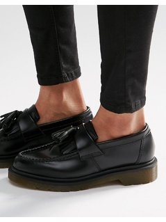 Dr Martens Adrian Black Leather Tassel Loafer Flat Shoes - Black