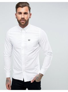 Fred Perry Slim Fit Classic Oxford Shirt White - White