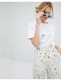 Monki Botanical T-Shirt - White