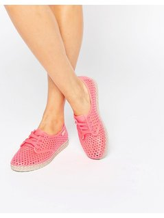 Zaxy Lace Up Espadrille - Pink