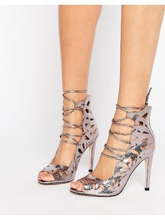 Little Mistress cut out lace up peep toe heels. - Silver