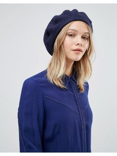 Warehouse Wool Beret Hat - Navy