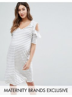 Bluebelle Maternity Cut Out Shoulder Dress In Stripe - Multi