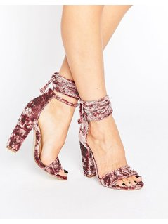 Missguided Crushed Velvet Wrap Around Heeled Sandal - Pink