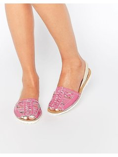 Park Lane Weave Leather Sling Flat Sandals - Pink