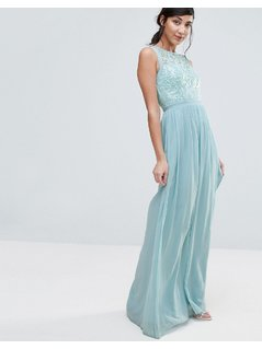 Little Mistress Maxi Dress With Lace Body - Green