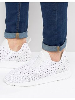 adidas Originals Asymmetrical ZX Flux Primeknit Trainers In White - White