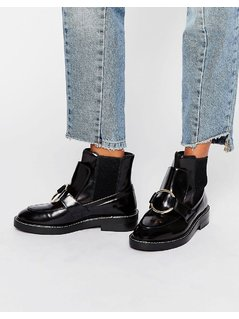 ASOS ANTOS Leather Chelsea Ankle Boots - Black