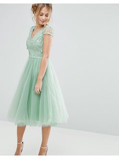 Chi Chi London Tulle Midi Dress With 3D Embroidery - Green
