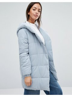 New Look Padded Wrap Over Coat - Grey