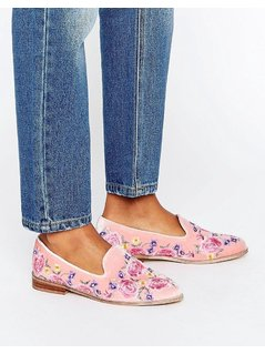 ASOS MUSICAL Embroidered Flat Shoes - Pink