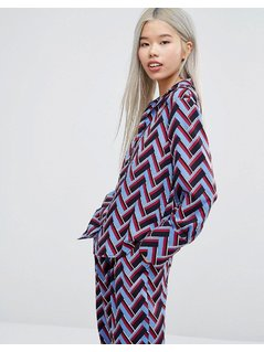 STYLENANDA Chevron Print Pyjama Shirt Co-Ord - Multi
