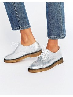 Miista Eloise Lace Up Flat Shoes - Silver