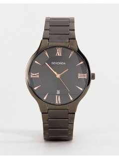 Sekonda Black Bracelet Watch With Rose Gold/Black Dial Exclusive To ASOS - Black
