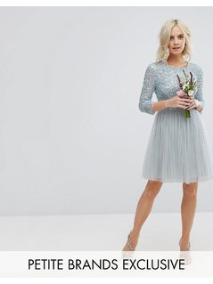 Maya Petite 3/4 Sleeve Mini Dress With Delicate Sequin And Tulle Skirt - Blue