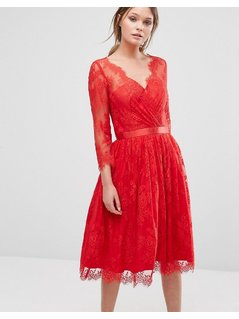 Chi Chi London Lace Overlay Dress - Red
