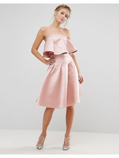 Chi Chi London Occasion Midi Skirt in Satin Co-ord - Pink
