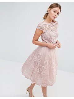 Chi Chi London Premium Lace Midi Prom Dress with Bardot Neck - Pink