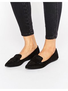 Call It Spring Unoille Cut Out Point Flat Shoes - Black