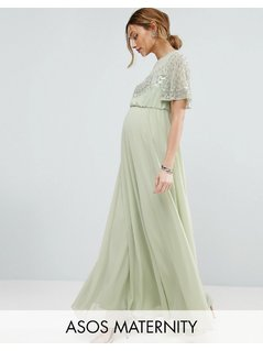ASOS Maternity Pretty Embellished Flutter Sleeve Maxi Dress - Green
