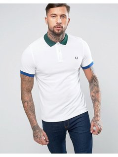 Fred Perry Slim Pique Polo Colour Block Trims in White - White