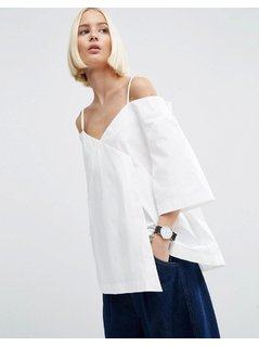 ASOS WHITE Wrap Cold Shoulder Top In Poplin - White