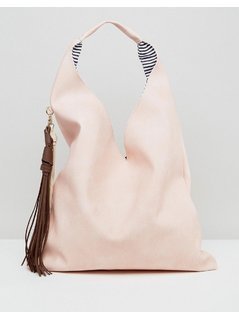 Yoki Fashions Slouchy Shoulder Bag With Contrast Tassel - Pink