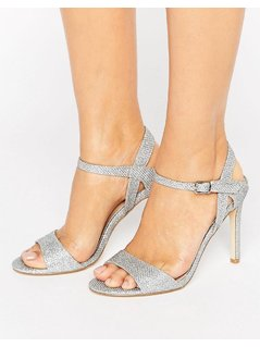 London Rebel Barely There Glitter Heeled Sandal - Silver