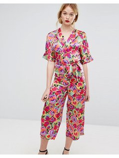 Warehouse Premium Silk Pansy Print Wrap Jumpsuit - Pink