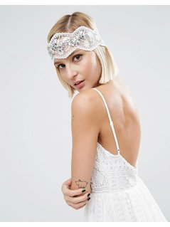 ASOS WEDDING Vintage Jewel Mesh Headband - White