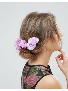 ASOS Statement Lily Rose Back Hair Clips - Purple