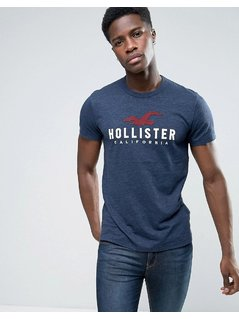 Hollister Seagull Logo T-Shirt Slim Fit in Navy - Navy