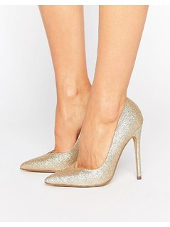 Steve Madden Glitter Pointed Court Shoes - Gold