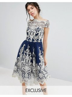 Chi Chi London Premium Metallic Lace Midi Prom Dress with Bardot Neck - Navy