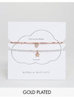 Estella Bartlett Silver And Gold Plated Plated Bracelet Set - Gold