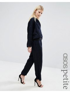 ASOS PETITE Relaxed Wide Leg in Jacquard Co-ord - Navy