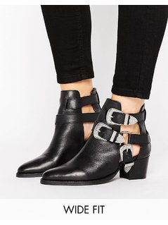 ASOS RADIATE Wide Fit Leather Western Buckle Boots - Black