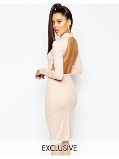 Naanaa High Neck Midi Bodycon Dress With Open Back - Pink
