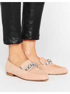 River Island Embellished Suede Loafer - Beige
