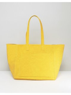 Warehouse Embossed Soft Pocket Tote Bag - Yellow