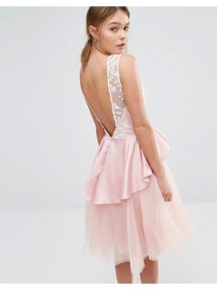 Chi Chi London Tulle Midi Dress with Frill Waist - Pink