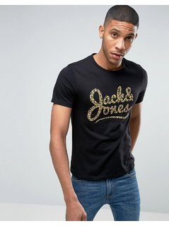 Jack and Jones T-Shirt with Leopard Print Logo - Black