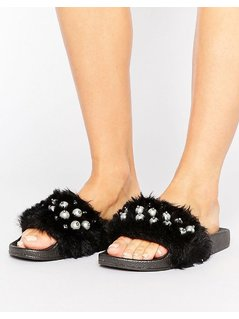 Truffle Collection Black Fur Pearl Slides - Black