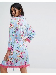 Boohoo Brides Squad Printed Floral Robe - Blue
