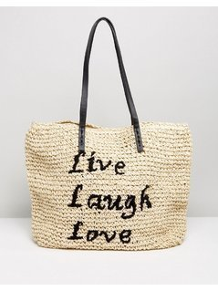 Vincent Pradier Live Laugh Love Straw bEACH Bag - Navy