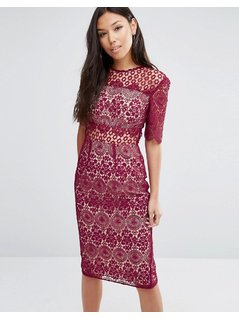 ASOS PREMIUM Lace Pencil Dress - Red