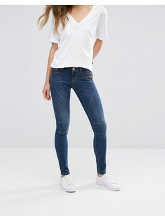 Noisy May Eve Low Waist Skinny Jeans with Zip Detail - Blue