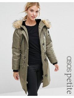 ASOS PETITE Luxe Parka With MA1 Detail - Grey