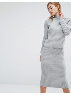 Parallel Lines High Neck Rib Jumper Co-Ord - Grey